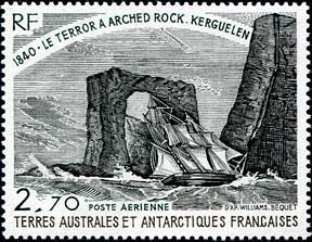French postage stamp depicts the Arch of Kerguelen.