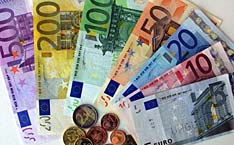Assorted Euro notes and coins.
