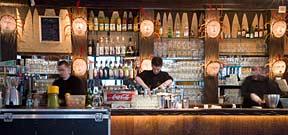 The bar at Indiana Cafe, Denfert-Rochereau, Paris.