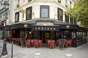 Exterior view of the Indiana Cafe at Rue Berger (Les Halles), Paris.
