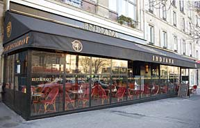 Exterior view of the Indiana Cafe at Rue du Faubourg Saint-Honore, Paris.