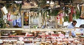 Deli and butcher counter, Halle Beauvau.