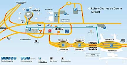 Diagram of CDG Airport complex