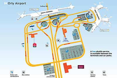 Diagram of Orly Airport complex