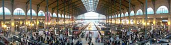 Panoramic view of Gare du Nord interior.