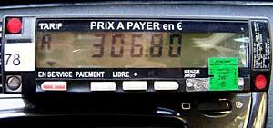 A Parisian taxi meter.